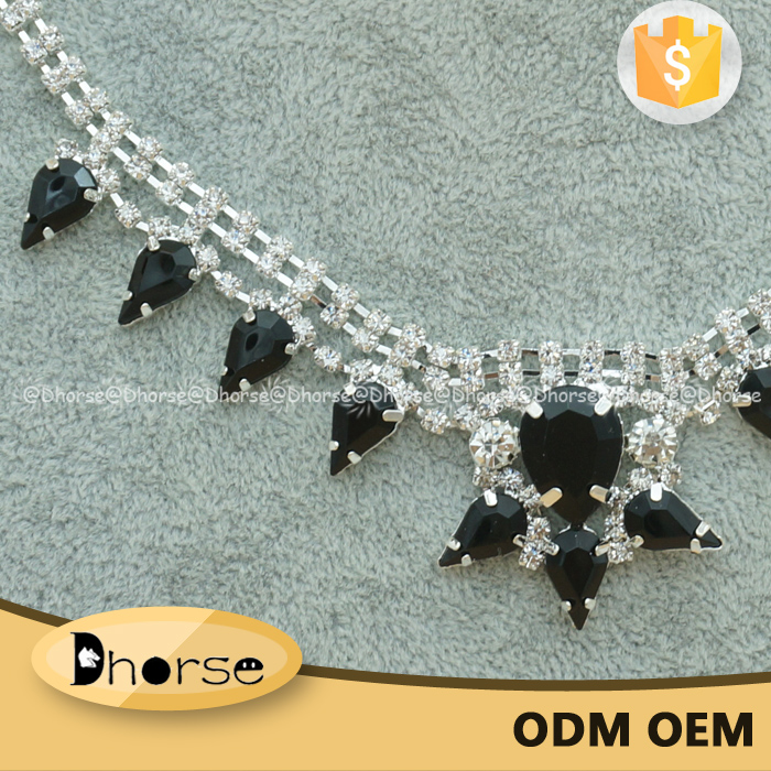 Fancy luxury sewing black stone neck chain silver bling bling crystal necklace for women