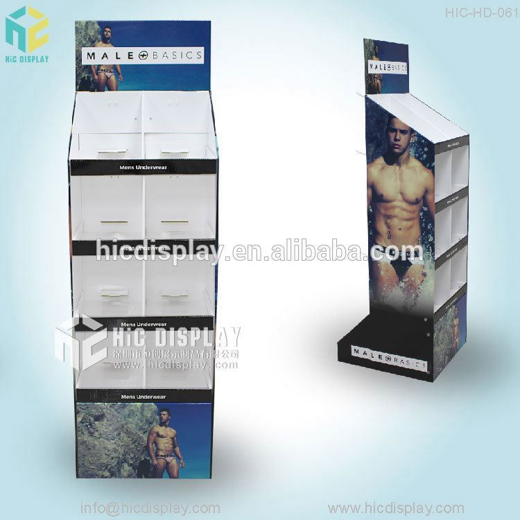 Custom printing children clothes display stand, large capability cardboard display plastic hooks