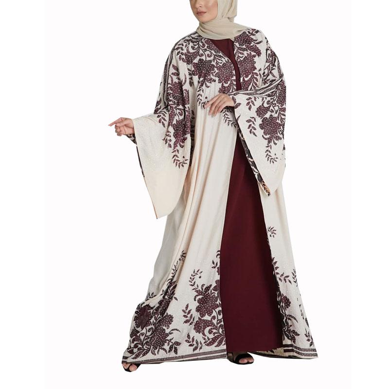 패션 새로운 스타일 화이트 긴 소매 인쇄 이슬람 Vatement 이슬람 드레스 여성