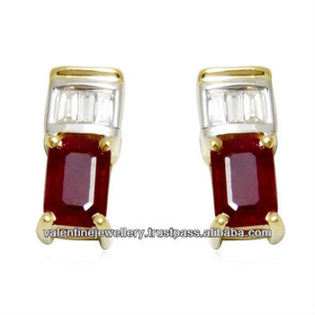 Ruby Gold Earring With Diamonds Fine Earrings For S And Women Tops