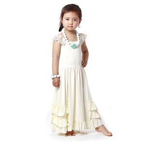 Howell manufacture wholesale kids clothing ivory long jersey maxi dress