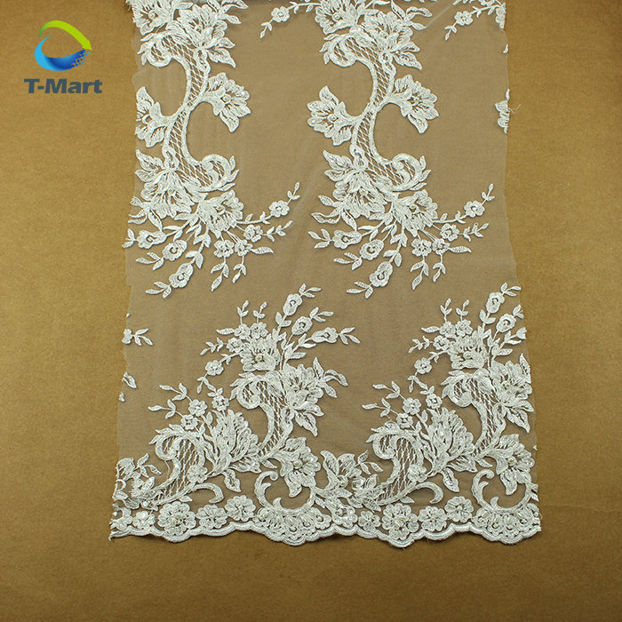 Handmade bead embroidery lace fabric for wedding dresses by elie saab wedding dress