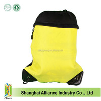 Yellow Mesh Drawstring Backpack School Sport Bags Varying Dye Pattern