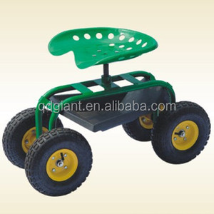 4 Wheels Steel Garden Tools Flower Seat Trolley Cart