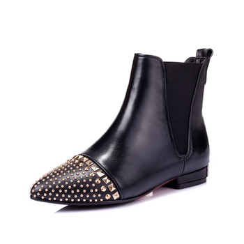 7380fbc0cf2 Custom 2017 Ladies Black Flat Sole Pointy Toe Studded Ankle Boots For Women  - Buy Ankle Boots With Studs,Black Ankle Boots,Flat Ankle Boots Product on  ...
