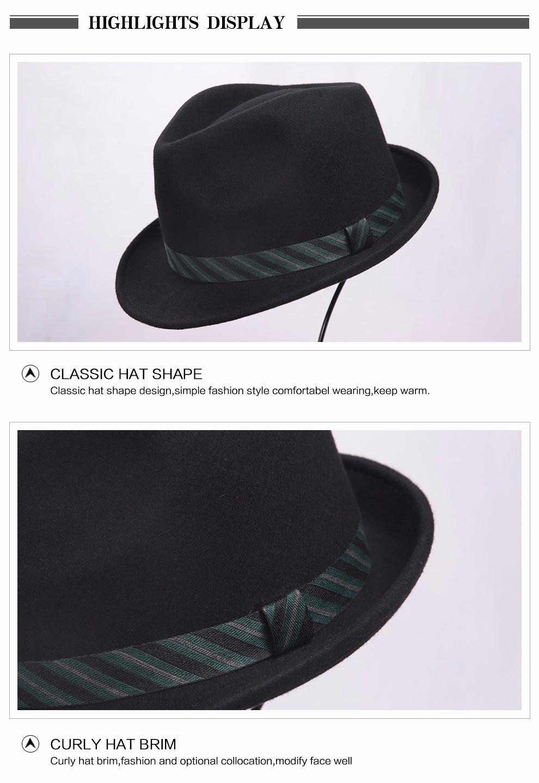 e3752e5353636 Men Fedora Hat 100% Australian Wool Material Trilby Hats for Male ...