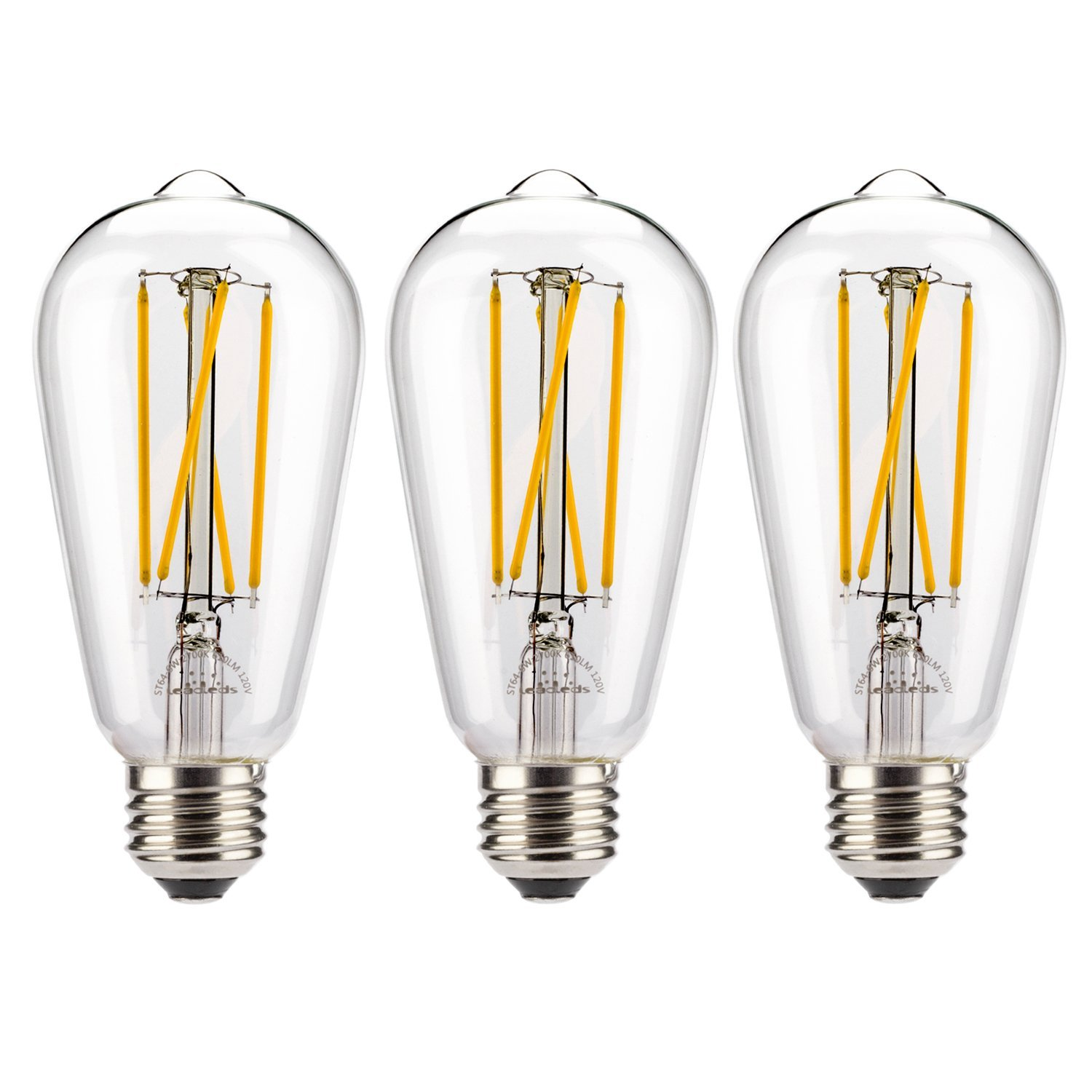 3-Pack Beautiful LED Filament Light, 60 watt Incandescent Bulb Replacement, E26 Medium Base ST19 Vintage Decorative LED Bulbs Dimmable Warm White by Leadleds