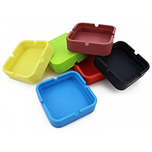 Hong Cheng(TM) Silicone Square Ashtray, Pack of 6,Colorfull Premium Silicone Rubber High Temperature Heat Resistant Square Design,Increase, Thickening, Hardness Higher of Ashtray (Multi-Color(6))