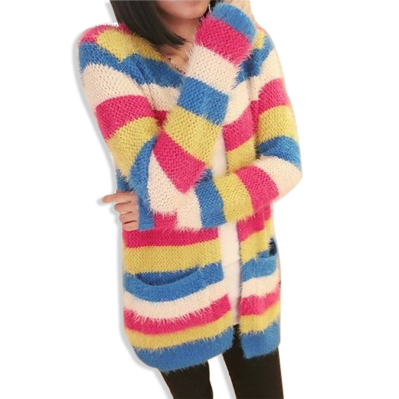 Colorful Striped Long Knitted Mohair Cardigan Feminino Women Long Sleeve Sweater 2015 Autumn Winter Pockets Casual Loose Coat