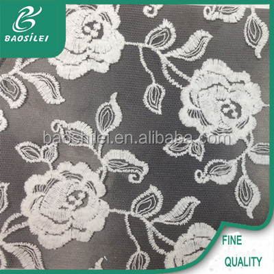 Wholesale french lace fabric rose white embroidered lace for bridal and lace garter