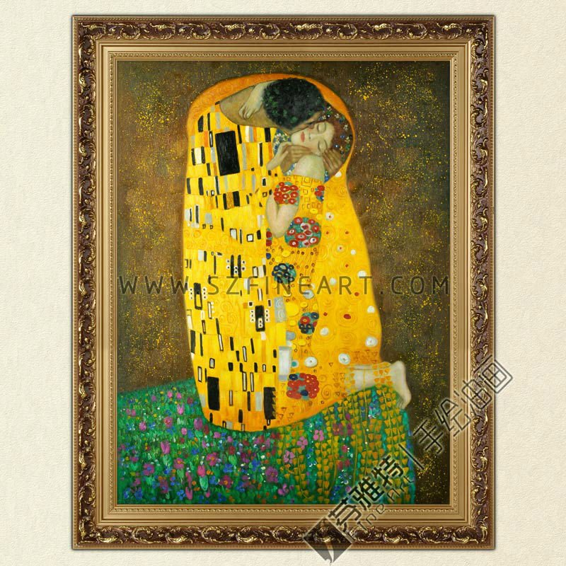 The Kiss, 100% Handmade Oil Painting Canvas Reproduction of Gustav Klimt