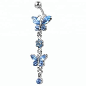 Beautiful blue cz stone butterfly flower dangle belly button bars piercing ring for women