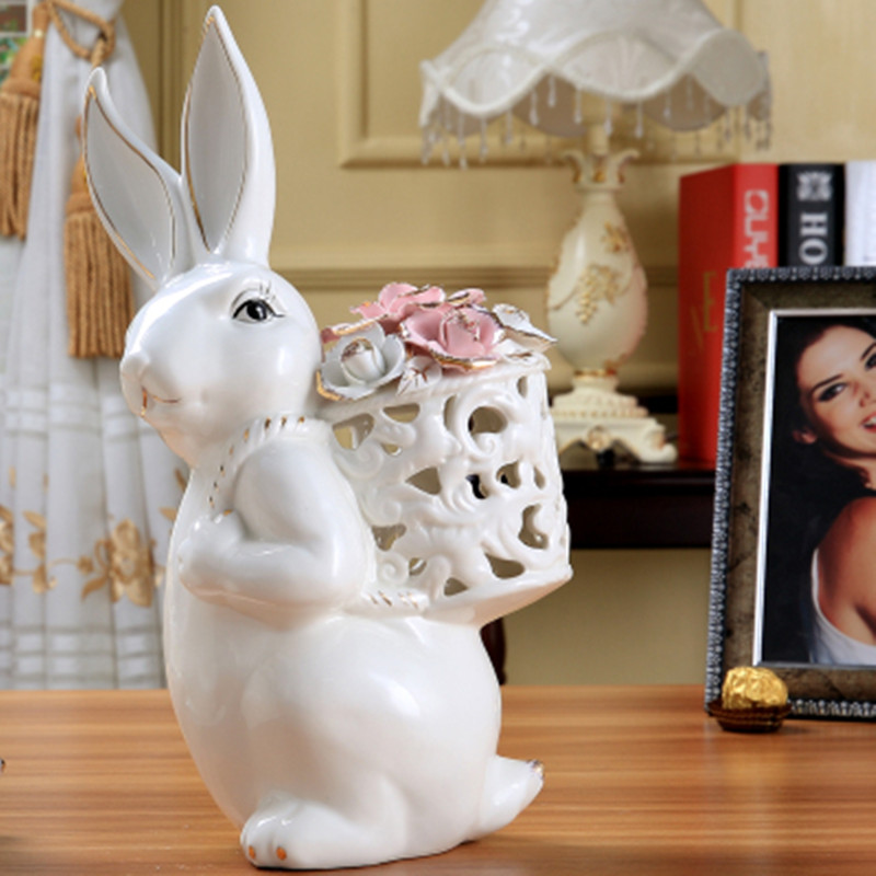 Pottery rabbit SongZi girlfriends wedding gifts home decor gifts souvenirs minimalist modern ornaments