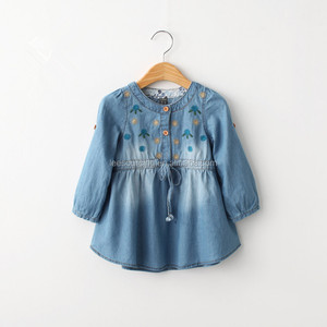 Latest design waist denim kids clothes long sleeve embroidery baby girl party dress