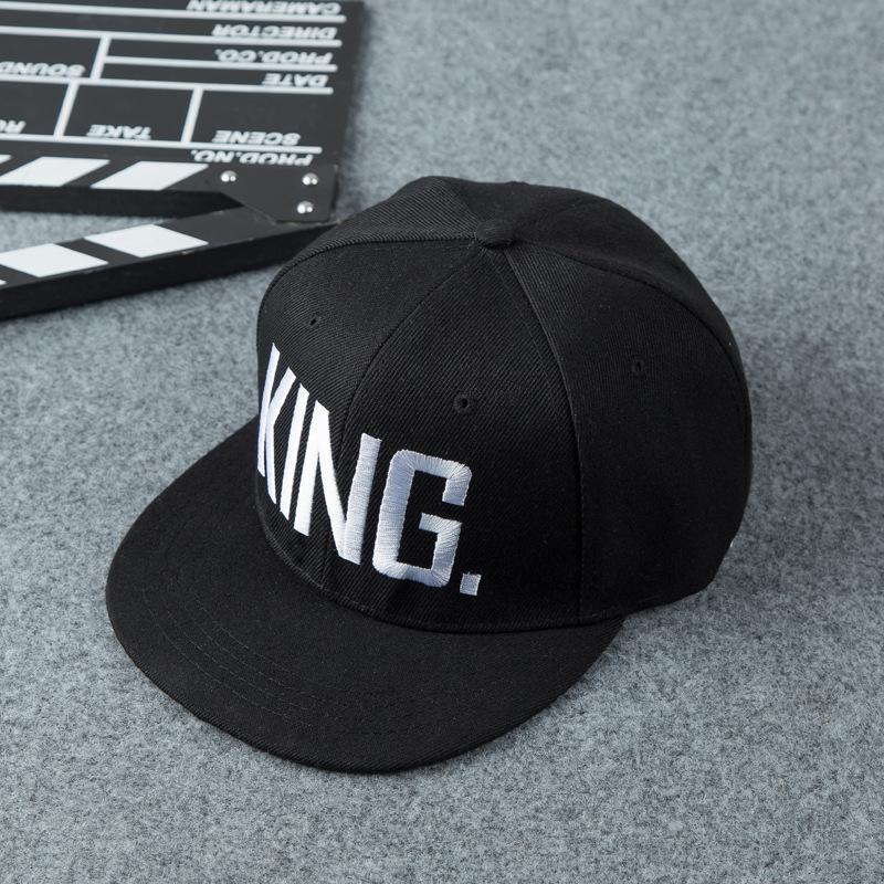 2039db42951 KING QUEEN Embroidered Snapback Caps Lover Men Women Baseball Cap Black  Couple Lover Hip Hop Cap