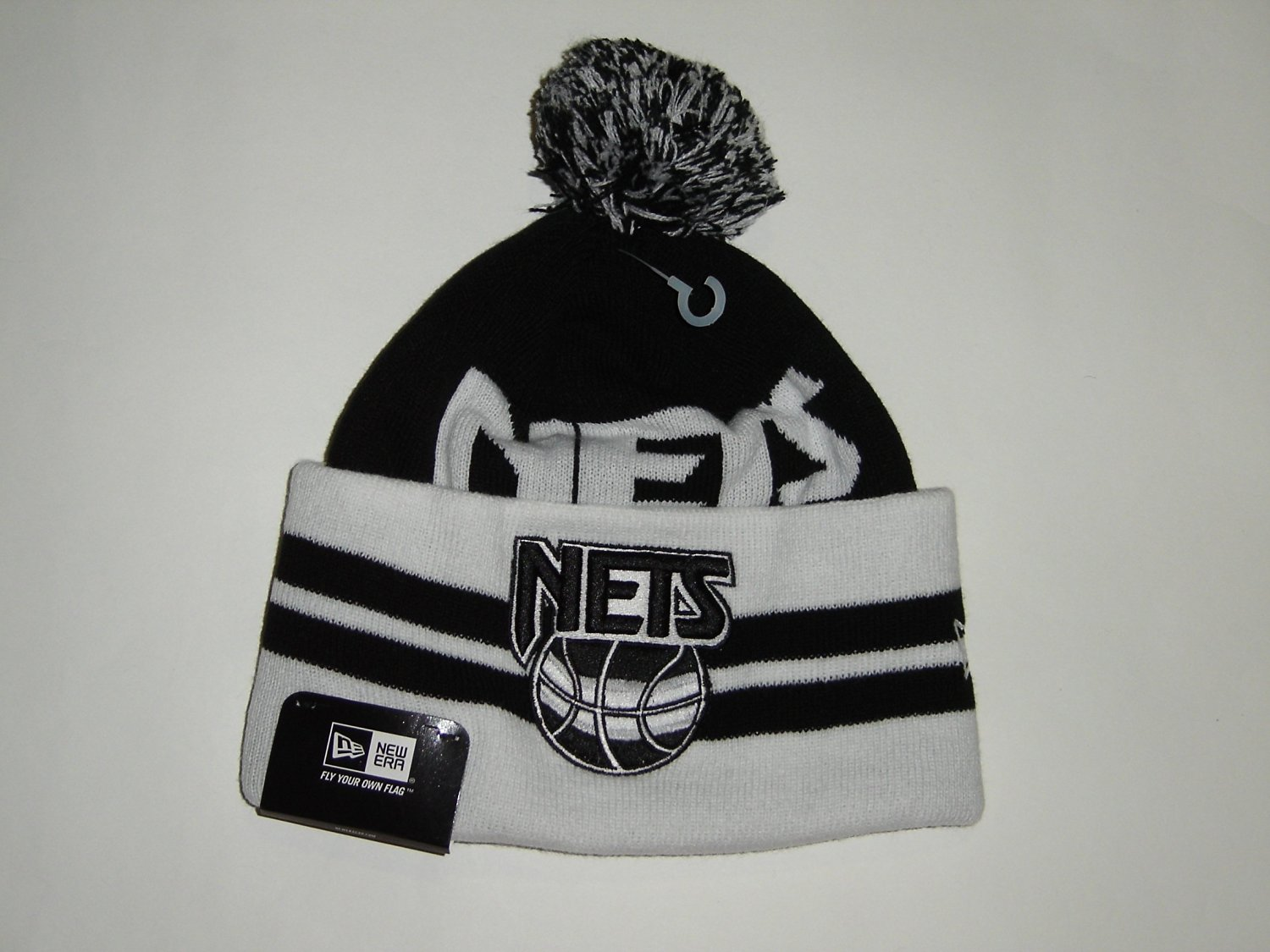 Get Quotations · New Era NBA Brooklyn Nets Wide Top Cuffed Knit Pom Beanie  Hats 1d941a1f6ce
