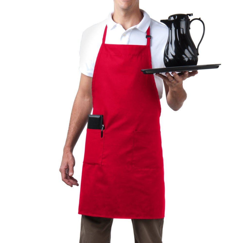 Bib Aprons-MHF Brand-1 Piece-new Spun Poly-Commercial Restaurant Kitchen- Adjustable-Full length-3 Pockets (Red)