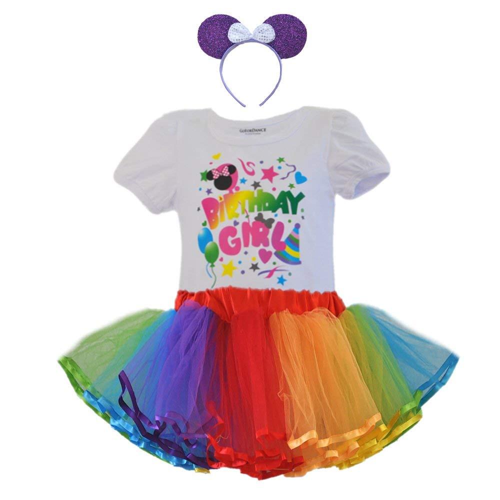 bebb31ece Get Quotations · Birthday Girl Party Dress Set Puff Sleeve Shirt / Rainbow Tulle  Tutu & Headband