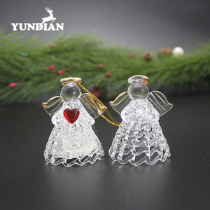 Blown hanging small clear christmas glass angels ornaments