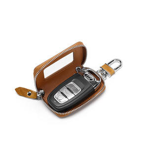 Leather car key case for men and women zipper key bag