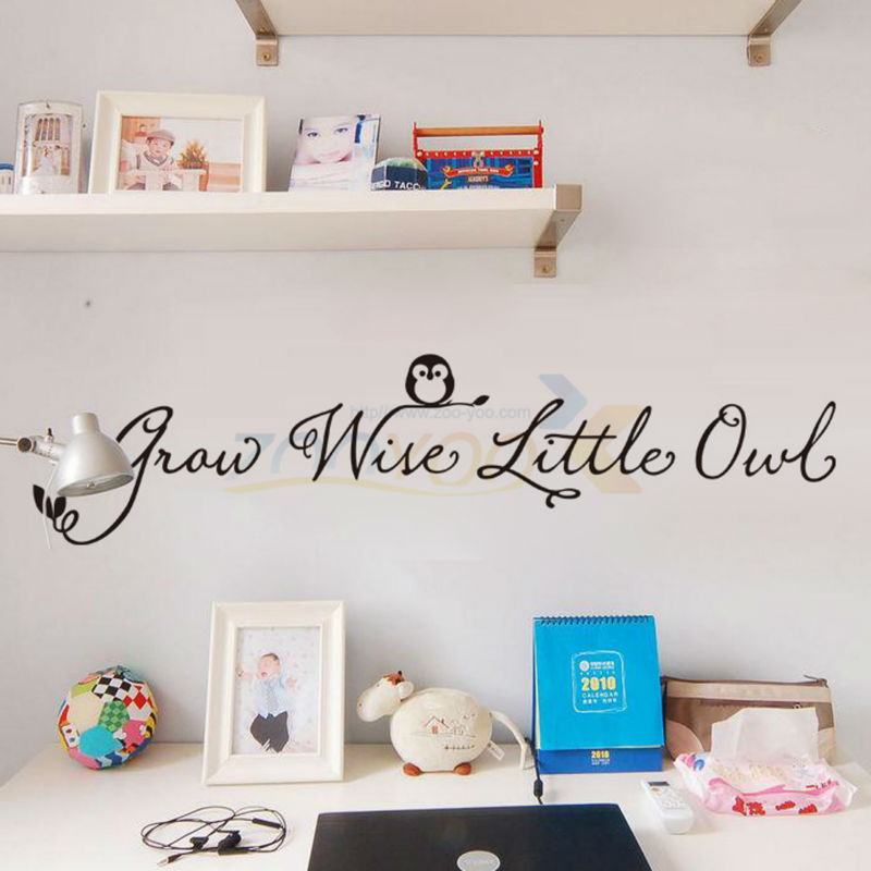 Free shipping Grow Wise Little Owl home decor creative wall decal vinyl wall sticker nursey kids home decor wallpaper