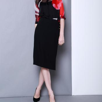 2018 Latest Long Black Office Formal Plus Size Dress Skirt For Women
