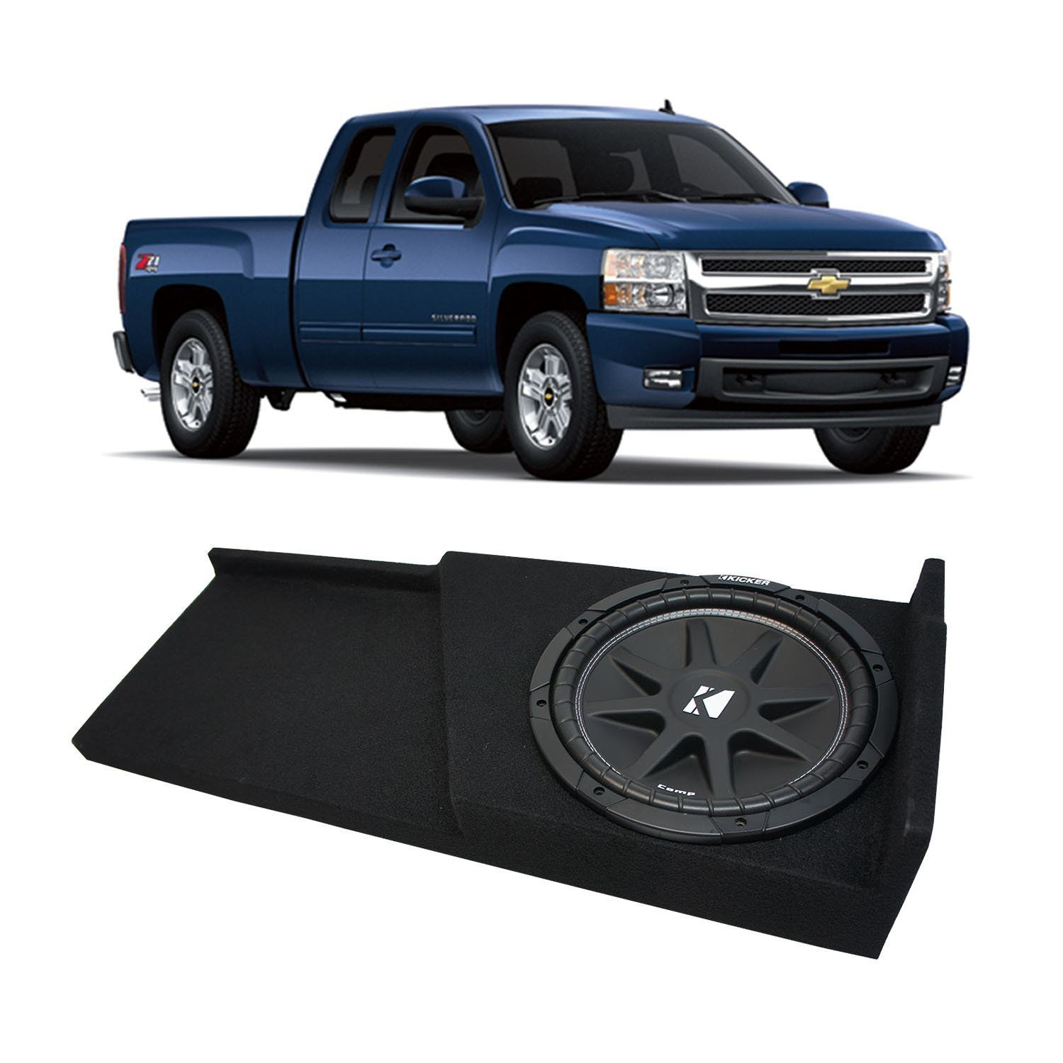 2007-2013 Chevy Silverado Ext Cab Truck Kicker Comp C10 Single 10 Sub Box Enclosure - Final 4 Ohm