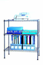 11V - Adjustable 3 Tier Free Standing Office Use Metal File Rack in Chrome