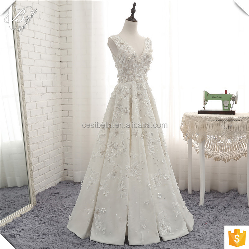 Alibaba Real Picture High Quality Luxury Bling Beaded Flower White Wedding Party Gown
