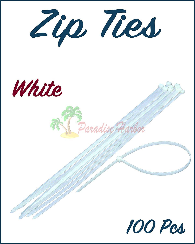 """Paradise Harbor 100 Pcs 12""""x0.2"""" inch 60 lbs Heavy Duty White Cable Zip Ties Heavy Duty Zip Ties"""