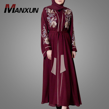 Top Quality Most Beautiful Front Open Muslim Kimono Abaya Fashion Embroidery Design Wide Sleeve Islamic Clothing In Dubai