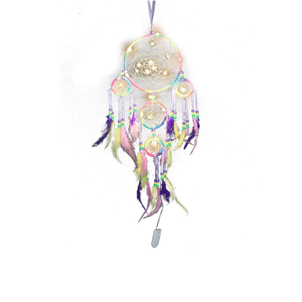 Dirance Dreamcatcher Feather LED String Light Copper Wire Fairy Night Light Lamp Festival Girl Bedroom Home Decor (Multicolor)