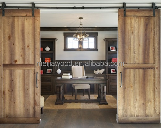 Medina Model Interior Bi-parting Sliding Solid Wood Barn Door Slab with Hardware