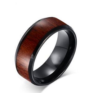 2018 Wood Grain Mosaic Ring Tungsten Steel Ring Personality Tungsten Gold Men's Ring