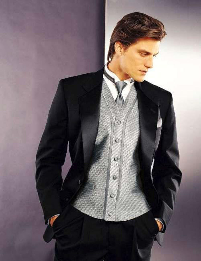 Custom Made cutaway coat Black Wedding Suit for Men Groom ...