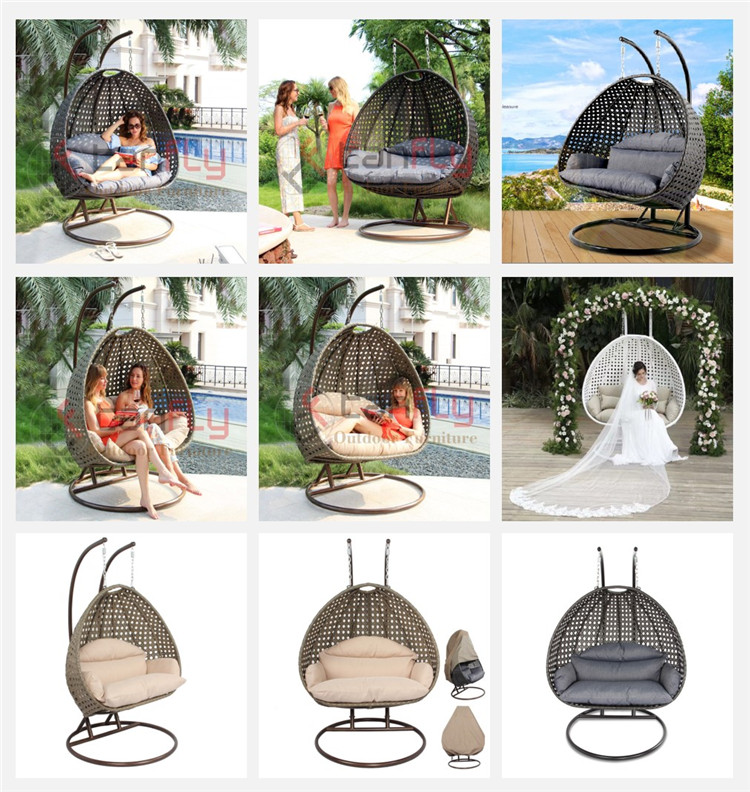 Patio Rattan Garden Wicker Outdoor Furniture Double Seater Outdoor Hammock Egg Hanging Swing Chair