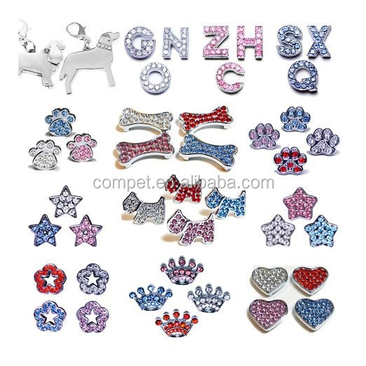 10mm Strass Diapositive Charmes pour Collier D'animal Familier