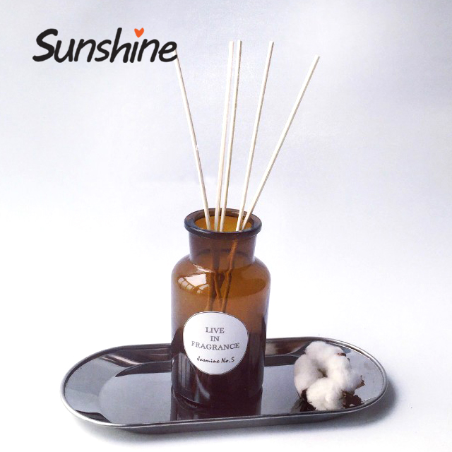 Decorative amber glass perfume reed aroma diffuser bottle