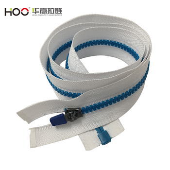 High quality Yg head Blue tooth plastic zipper with white tape