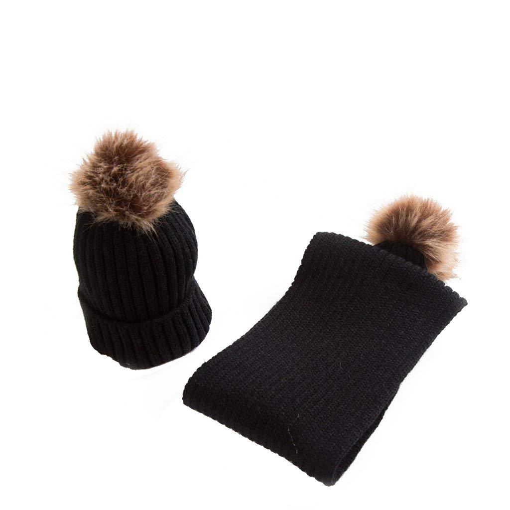 86c58494ddc Get Quotations · Dabixx Winter Warm Infant Baby Beanies Caps Boys Girls Fur  Ball Crochet Hat Scarf Set -