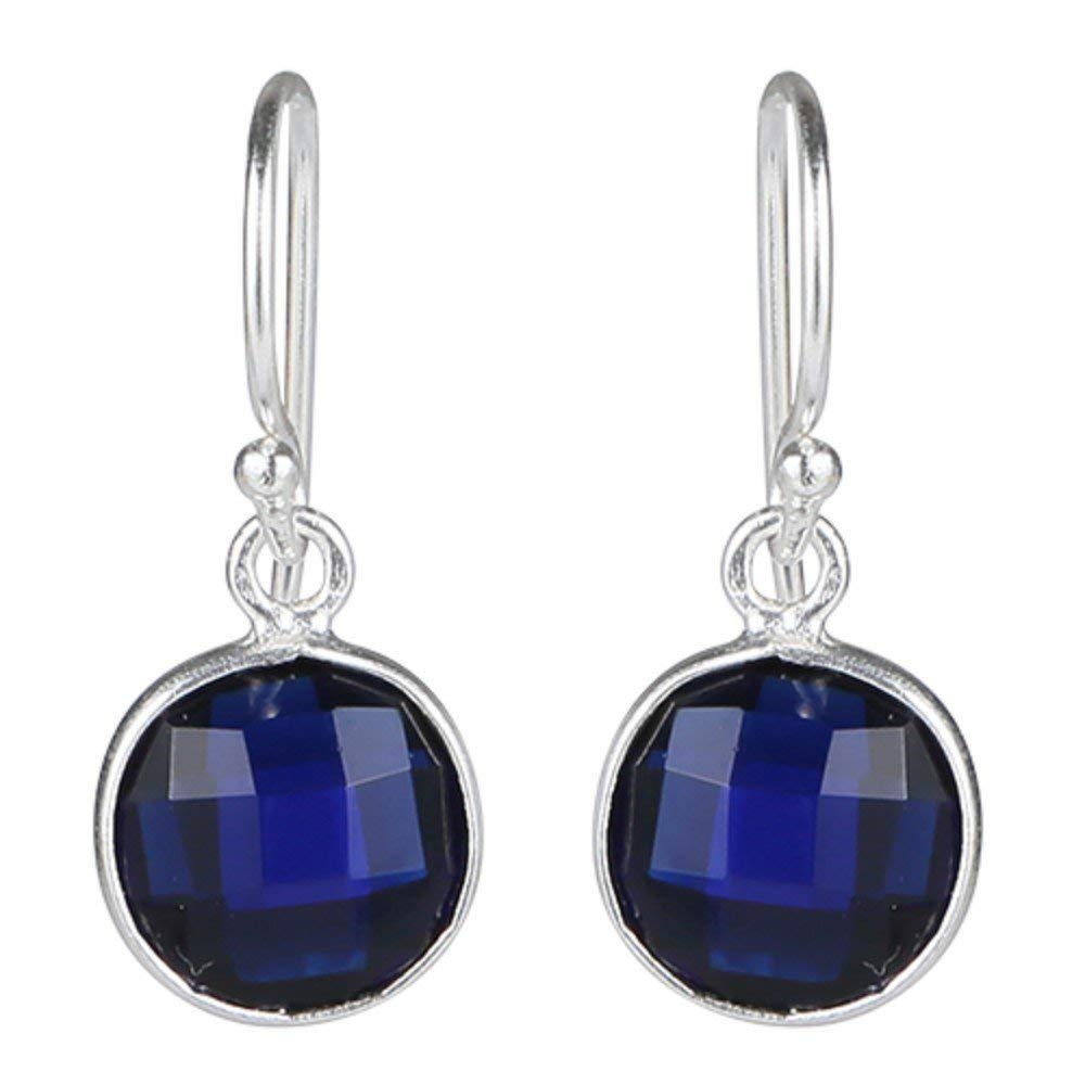 Nice Round faceted earrings with Blue quartz gemstones