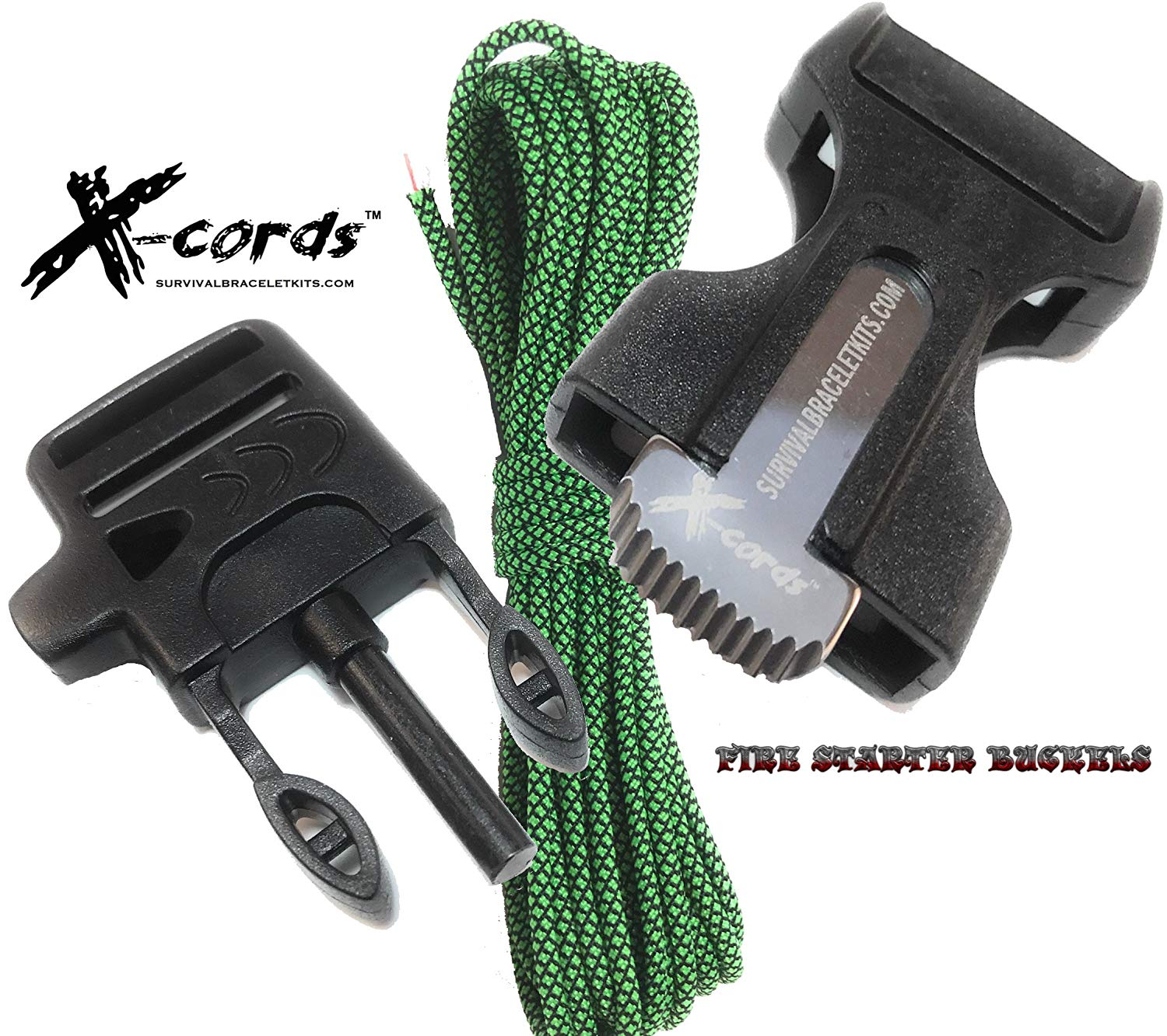 X-CORDS Paracord Fire Starter Paracord Bracelet Buckle Whistle Buckle Combo Fits all Paracord 550 750 and 850 Cord Survival Supplies
