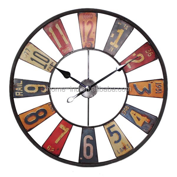Large Retro Vintage Mdf Wall Clock Paris Eiffel Tower