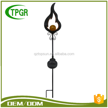 Artificial Outdoor Powered Metal Solar Garden Stick Light Decoration Led  Flame Light Solar Stake Light