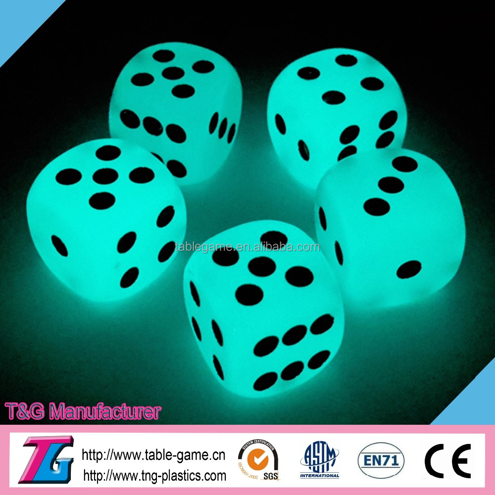 High quality glowing in the dark party dice for drinking games