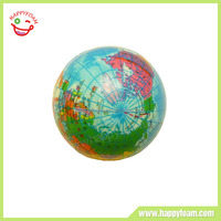 Earth pattern bouncing foam ball ,PU squeeze full color stress ball