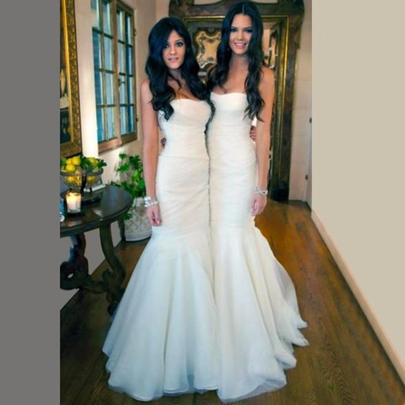 2016 Long Wedding Party Bridesmaid Dress Junior Mermaid White Tulle Dresses Coreset Brides Maid Honor