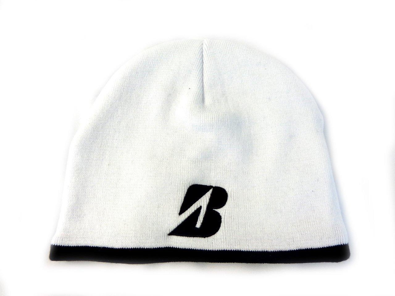 Get Quotations · NEW Bridgestone Golf Winter Cold Weather Fleece Knit White  Beanie Hat f0953fb54bf3