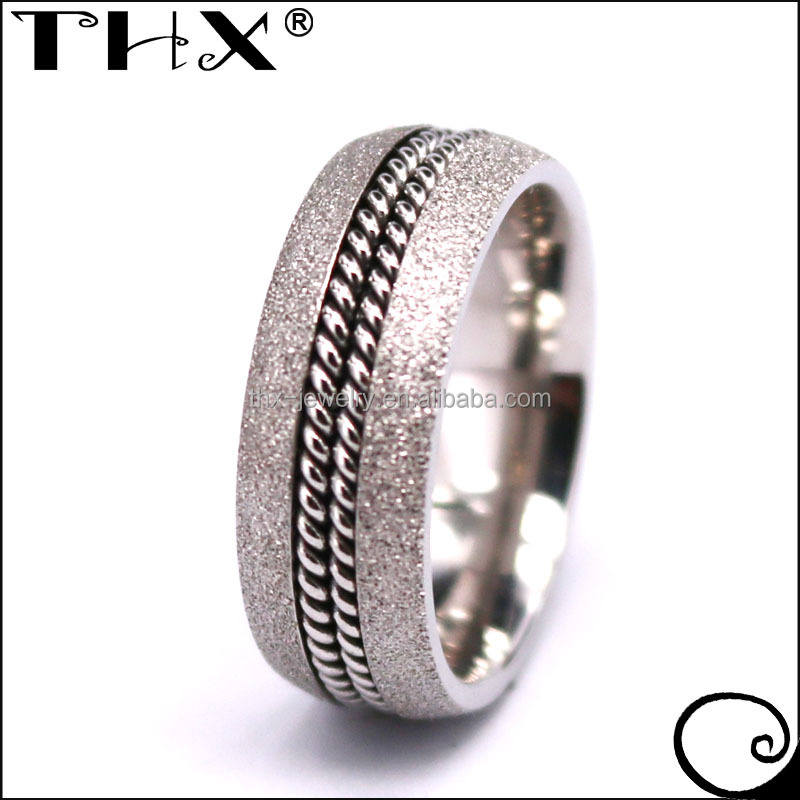 8mm Domed Finish Double Curb Steel Chain Center Inlay Sandblasted Titanium Ring