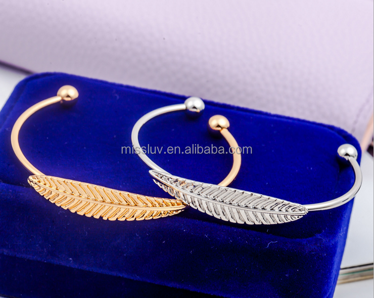 fashion stretch thin wire metal feather bangle gold silver leaf open bangle
